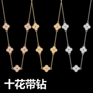 Designer luxury goods factory price wholesale VC letter ten flowers full diamond necklace Yajin lady ten flowers four leaves