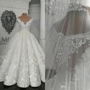 2020 Arabisch Dubai Vintage Brautkleider Sheer 3D Blumen Applikationen Perlen Plus Size Brautkleid Prinzessin Ballkleid Vestido De Novia
