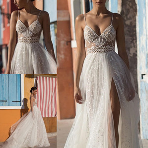Abiti da sposa Gali Karten Beach 2016 Spaghetti Split Spalato Illusion Sexy Abiti da sposa Boho Sweep Train Perle Backless Bohemian Bride