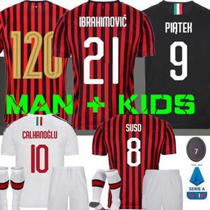 19 camisas de futebol 20 IZ IBRAHIMOVIC AC Milan 2019 Piatek 2020 camisa de futebol 120 Paquetá Bennacer conjuntos crianças kit uniformes maillot de pé