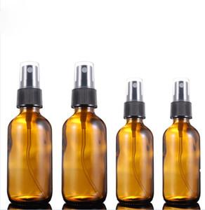 Vendidos 30ml 60ml Âmbar spray garrafas de perfume Bomba de vidro portáteis Boston Rodada de viagens de perfume Frascos para cosméticos Embalagem