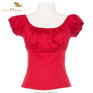 SISHION Vintage Womens Hauts et Blouses TP204R Blouse Blanche Rouge Noir Rose Sexy Dames D'été Tops Femmes Chemises