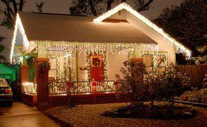 5м 16.4ft LED занавеса Сосулька гирлянд Droop 96LED Fairy Garland Light на Рождество Новый год Праздник на открытом воздухе украшения LLFA