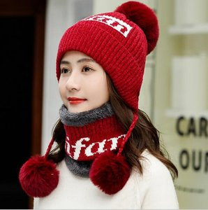 Chenille knitted hat plus velvet thick earmuffs winter hat ladies winter fashion wild wool ball wool hat scarf
