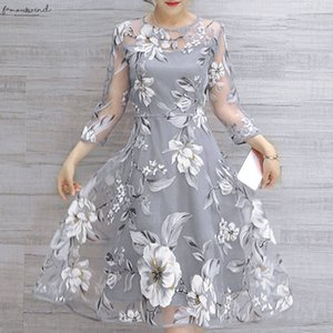 Dress Womens Summer Organza Floral Print Wedding Party Ball Prom Gown O Neck Dress Vestido Casual Dresses De Festa Party Night Woman