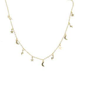 100% 925 pavimenta la joyería de plata esterlina manera de las mujeres pequeña estrella de la luna brillante encantos relámpago collares colgante linda chica V191129 finos regalos
