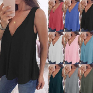 Women Tanks Plus Size Tops Solid Sexy Deep V Camis Summer Casual Tees Sleeveless Loose Blouses Blusas Costume Women Clothing Vestidos 5519Q