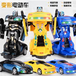 Nouveau jouet de déformation créative des enfants de réservoir de déformation train électrique jouet robot modèle de voiture