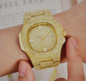 Lovers Women Diamonds men watch clock Calendar women watches full steel gold Bracelet wristwatch Men watches Women