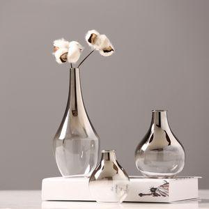 Vaso di vetro nordico Vaso creativo Gradiente d'argento secco floreale secco vaso desktop ornamenti domestici decorazione della casa divertimento regali piante vasi arredamento T200617