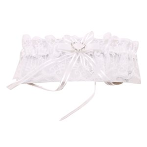 Elegant Women Lace Mesh Bowknot Belt Sexy Suspender Rhinestone Lace Garter For Bride Party Wedding Leg Rings