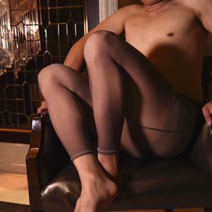 Hombre 90G del tobillo de longitud caliente polainas Hombres térmica apretado pene Cubierta para hombre sin pies pantimedias Gay Espesar Medias Medias Lencería