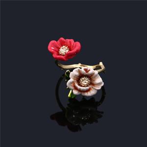 Fashion- المينا الصقيل مجوهرات زهرة حمراء للمرأة قابل للتعديل فاخر حلقة عصري فاخر اللون حلقة مزدوجة المفتوحة
