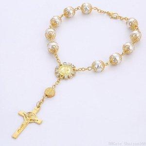 Jesus Cross Rosary Bracelet Pearl Charm 10MM Bead Women Men Vintage Glass Pearl Beaded Bangle Jewelry Halloween Christmas Gift
