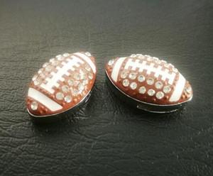 Atacado 50pcs / lot 8 milímetros strass Futebol Americano / Rugby ajuste encanto esporte de slides para chaveiros 8 milímetros pulseira