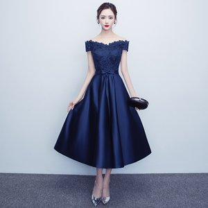 Red Blue Long Bateau Short Sleeve Evening Dress Satin Formal Dress Tea-Length Prom Party Cocktail Gown