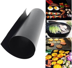 33*40 CM*0.2 MM Barbecue Grilling BBQ Grill Mat Portable Non-stick and Reusable Make Grilling Easy Black Oven Hotplate Mats YD0577