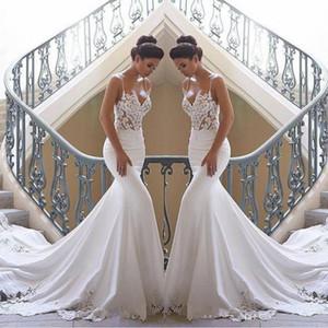 2020 espaguetis correas barato sirena del cordón de la boda de playa vestidos de encaje apliques de raso tren de barrido de Boho de boda Vestidos de novia Vestidos de boda