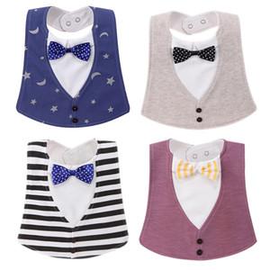 Pajarita de algodón baberos para bebés 15 colores toalla de bolsillo para niños impermeables de moda Burp Cloths Baberos ajustables para regalo de Navidad