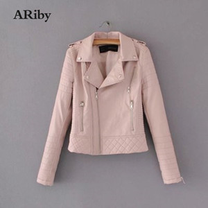 ARiby Leather Jacket Coat 2020 Autumn Winter New Fashion Women Smooth Motorcycle Leather Jackets Ladies Long Sleeve Solid Coat