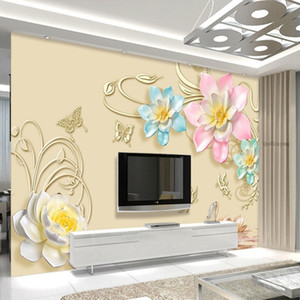 Custom Any Size Mural Wallpaper 3D Relief Purple Magnolia Bedroom TV Background Wall Paper Home Decor Living Room Wall Covering arkadi
