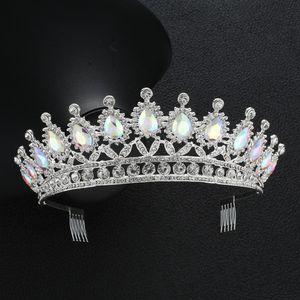 KMVEXO CrystalAB Hochzeit Crown Royal Queen Bride Crown mit Kamm Pageant Barock Stirnband Prinzessin Tiara Haarschmuck Ornaments Y200424