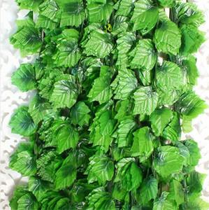 12pcs Atificial Sahte Asma Tesisi 2 .4m Garland Ev Bahçe Duvarı Dekorasyon Plastik Yeşil Alan Atificial Üzüm Yaprak Vine Leaves