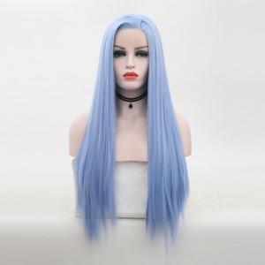 Mavi Sentetik Dantel Açık Peruk Yüksek Sıcaklık Isıya Dayanıklı Tutkalsız Uzun İpek Düz Açık Mavi Sentetik Lacefront Peruk Yan Parça