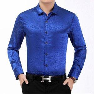 Erkek gömlek yeni orta yaşlı erkekler leopar baskı uzun kollu parlak gömlek Çin tarzı iş rahat beyefendi