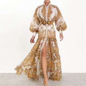 Banulin 2019 Runway Designer Mulher Vestido Maxi cintura alta Puff luva Sashes floral do ouro Imprimir Único Breasted Dividir vestido longo MX200518