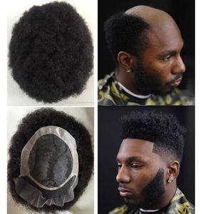 Erkekler Saç Sistemi Afro Curl Toupee Dantel Ön Mono NPU Toupee Jet Siyah Erkekler Için Perulu Bakire Remy İnsan Saç Değiştirme