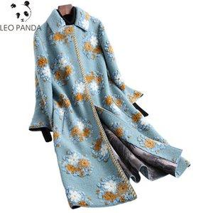 2019 qualidade Inverno Mulheres Superior real Lã Casaco de Pele Sheep Shearing Coats Moda Feminina em 3D Imprimir Jacket Floral Grosso