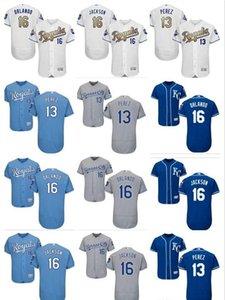 Uomo-Donna della gioventù Majestic KC Royals Jersey # 16 Paolo Orlando 16 Bo Jackson 13 Salvador Perez casa Nary pullover blu di baseball