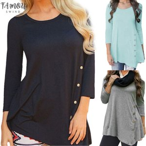 Klv Womens Long Sleeve Loose T Shirt Button Slim Long Large Size 6Xl Shirt Solid Color Round Collar Jacket T Shirt
