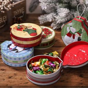 크리스마스 테마 금속 라운드 캔디 쿠키 틴 케이스 컨테이너 크리스마스 휴일 장식 상자 저장