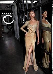 2.019 Ouro Mermaid Prom Dresses Uma luva de lantejoulas Side Dividir vestidos de noite formal vestido de festa da dama de honra Para personalizado