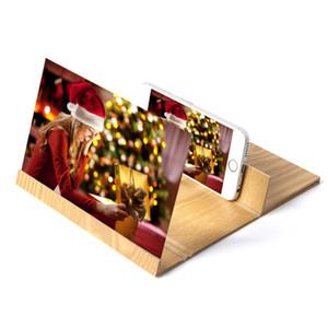 3D Téléphone écran Loupe 12 pouces stéréoscopiques Amplifier de bureau en bois Support agrandir 4-6 fois sur l'écran du téléphone