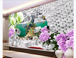 3D تخصيص صورة جدارية خلفية كبيرة HD الفاوانيا الطاووس زهرة جيد القمر 3D غرفة المعيشة التلفزيون خلفية جدارية ورق الحائط للجدران 3D