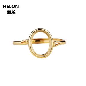Стерлингового серебра 925 пробы женщины обручальное обручальное кольцо 8x10 мм Овальный кабошон полу крепление кольцо подходит Янтарь Лазурит установка оптом