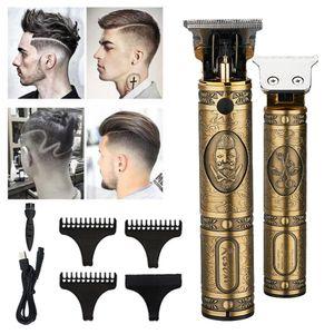 Gold elektrische USB aufladbare Männer Haarschneider retro Öl Kopf Klipper T9 professionellen Bartschneider