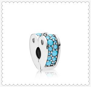 Auténtico Cian Azul Arcs of Love Clip Charm S925 de plata esterlina del grano Fit For Pandora pulsera DIY encantos de los encantos