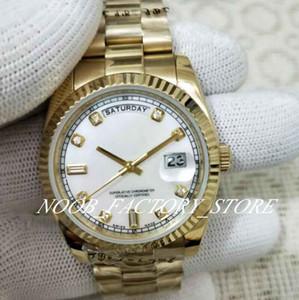 Fábrica de lujo Madre-de-Perla Diamante Dial acero inoxidable pulsera de plata 2813 Movimiento automático de cristal de zafiro 36MM relojes de los hombres
