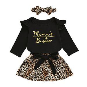 Bebê Girls Dress Suits infantil Carta ruffler Romper Tops 3pcs + Bow Lace Leopard Saias + Leopard Carneiras / set Criança equipamento ocasional M1301