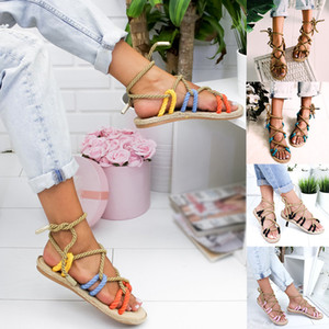 Hot Sale-Women's Summer Beach Weaving Sandals Soft New Fashion Rope Toe Casual Cross Tied Shoes Contrast Color Female Large Footwear