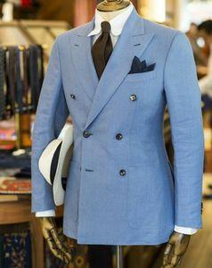 Herren-Blau Leinenanzügen One Piece Jacke Zweireiher Spitze Revers Formal Wear Bräutigam Bester Mann Anzug Herren Mantel