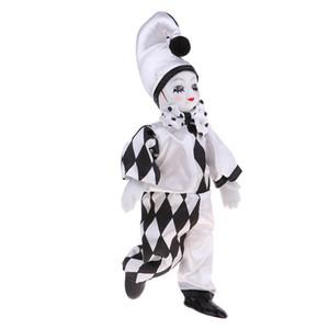 10inch mignon Porcelaine debout Clown Doll Figure Jester avec maquillage visage pour cadeau d'anniversaire