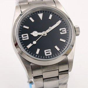 Acciaio Mens Mirror Style Style Style Watch Automatic Watch Exp Movimento 36mm Alta Qualità Inossidabile Pieghevole Black Original Luxury Buckl Vojkg