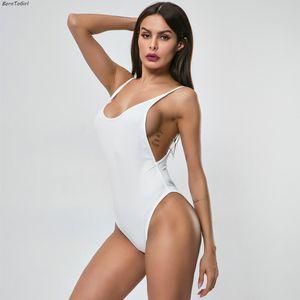 BornToGirl Mulheres Slim Sexy Oco Sem Encosto Bodysuit 2019 Verão Sem Mangas V Neck Body Suit Branco