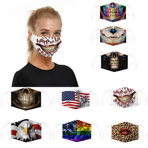 многоразовая маска для лица camo Skull flag explosion models digital printing dust haze PM2. 5 adjustment earhook с двумя чипами взрослые детские маски