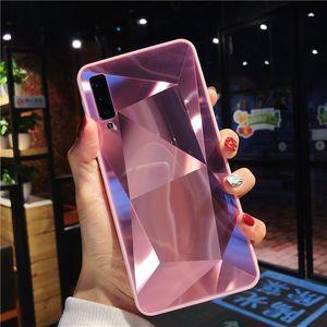 Luxus-Diamant-Textur Fall für Samsung Galaxy A9 A750 2018 A5 2017 Abdeckung Thin Spiegel Muster für Samsung A6 A8 Plus-Phone Case